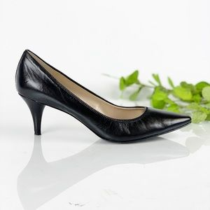 Tahari Brett Black Leather Pump Pointed Toe